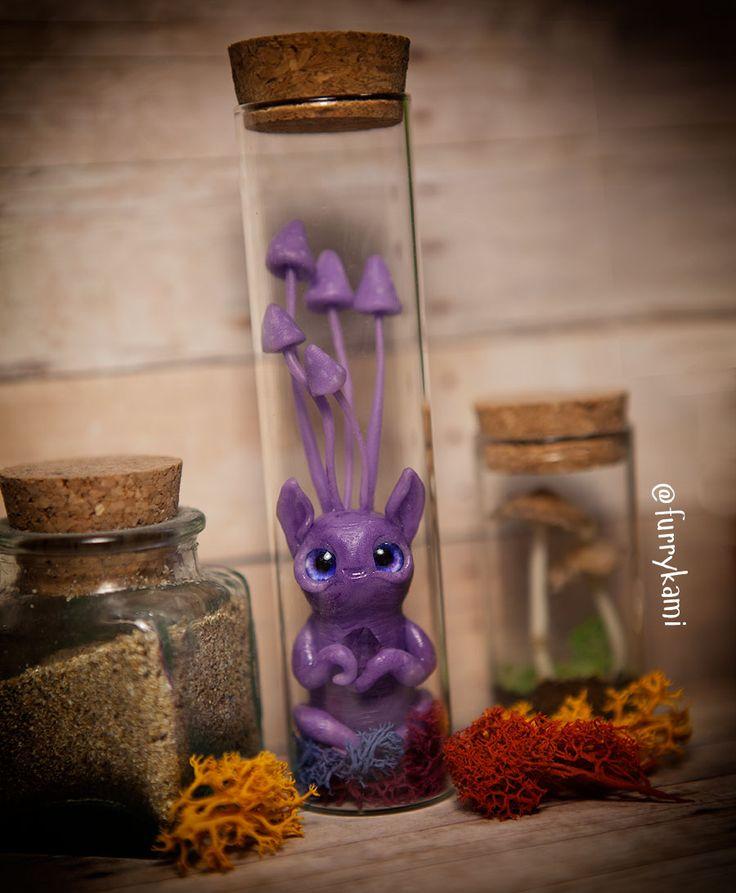 mushroom creature in glass jar by Furrykami-creatures.deviantart.com on @DeviantArt
