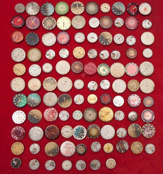 Viele der 100 ZARIA sowjetische Uhr Bewegungen 20mm DETAIL Teile Steampunk Kunst wählt