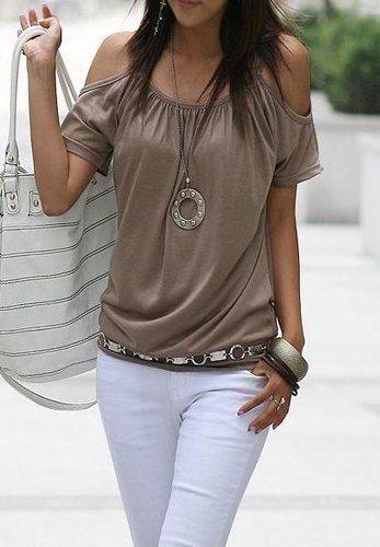 T-shirt Simple Chic Encolure Dégagée Décontracté Couleur Pure Épaule Ouverte Pour Femmes