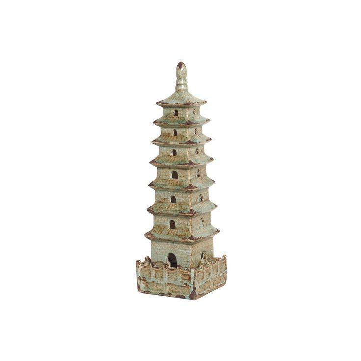 Small Antique Foam Blue Square Pagoda - Seven Colonial