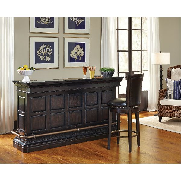 pulaski burton bar table in dark wood