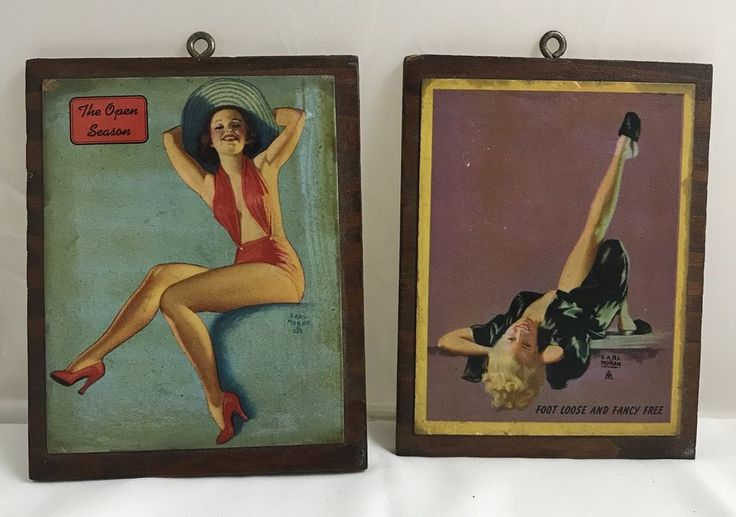 Two Earl Moran Pin Up Cards On Wood | Collectibles, Paper, Pin Up | eBay!