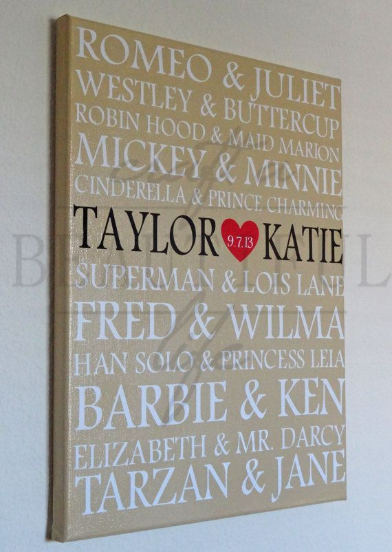 Famous Couples Anniversary Canvas by CraftABeautifulLife on Etsy