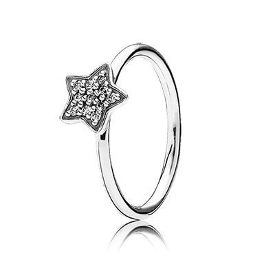 PANDORA clear pavé star ring in sterling silver. Perfect alone or stacked with other rings. $50 #PANDORAring