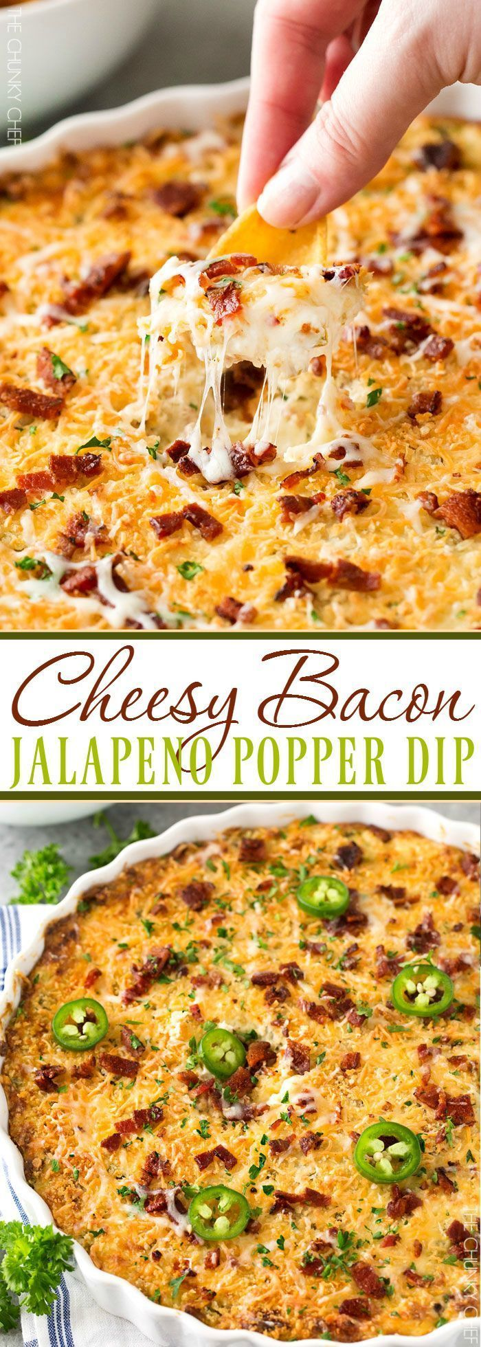 Cheesy Bacon Jalapeno Popper Dip   Warm and spicy, this ultra cheesy bacon jalapeno popper dip will be the hit of ANY party you bring it to!   thechunkychef.com