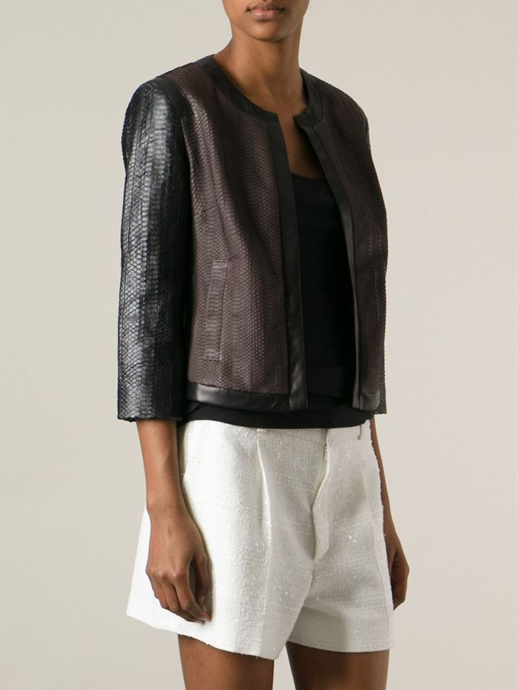 Black and brown leather cropped jacket from Simonetta Ravizza