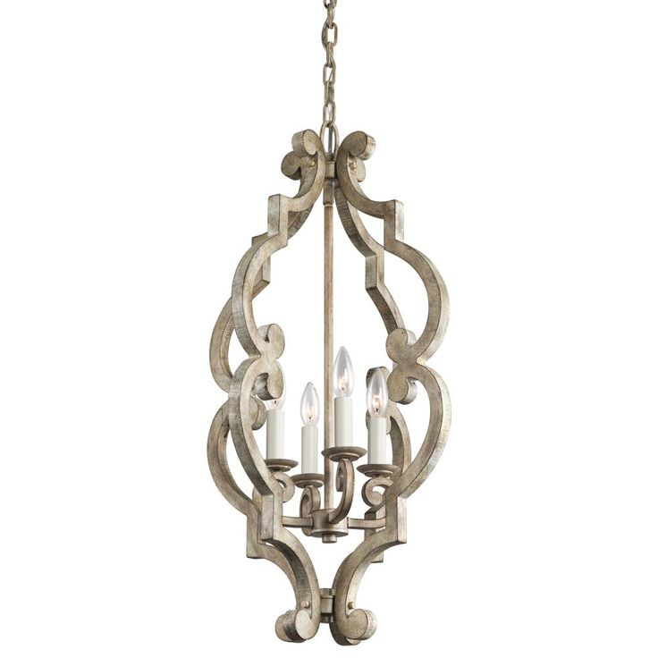 our price kichler lighting 4light hallfoyer light in distressed antique - Foyer Chandeliers