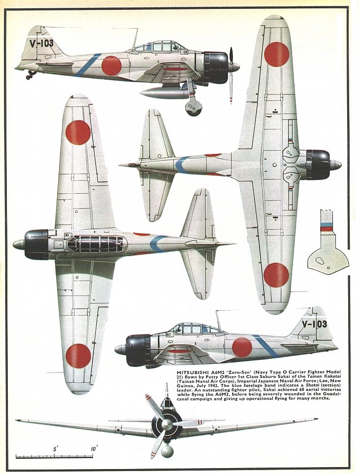 "Mitsubishi A6M2 ""Zero-Sen"", early war version (1942-1943) with long wings and short cannon in wings"