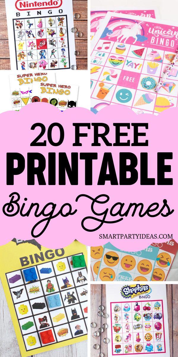 20 Free Printable Bingo Games Perfect For Kids Birthday