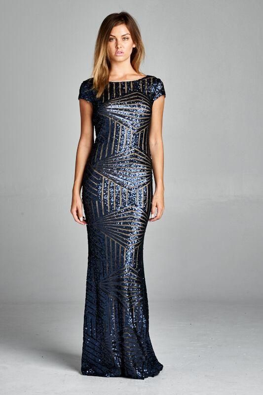 b81c6ffa31fc STYLE: Cocktail, Party, Dinner, Event Attire. Event Dress Long Chiffon  Sequin Model is wearing set in size S Color: Dark Blue Sequin Ships in 9  Days