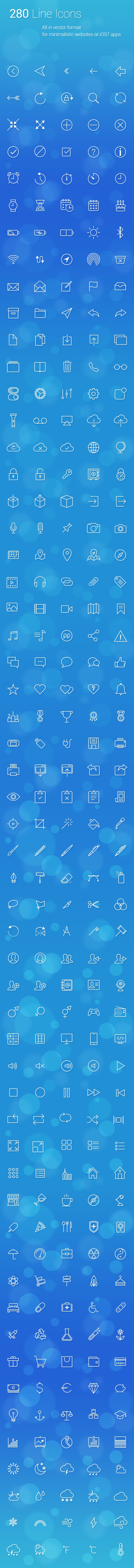Get 280 uniquely designed vector line icons for your personal/commercial projects, apps, websites, prints and more. Looks great with the new iOS 7 design! Scale or edit icons without losing quality using the vector source files. Every icon is also provided in pixel format ready to drop directly into Xcode at both standard 1x and retina 2x sizes.   Download: https://gum.co/orbG