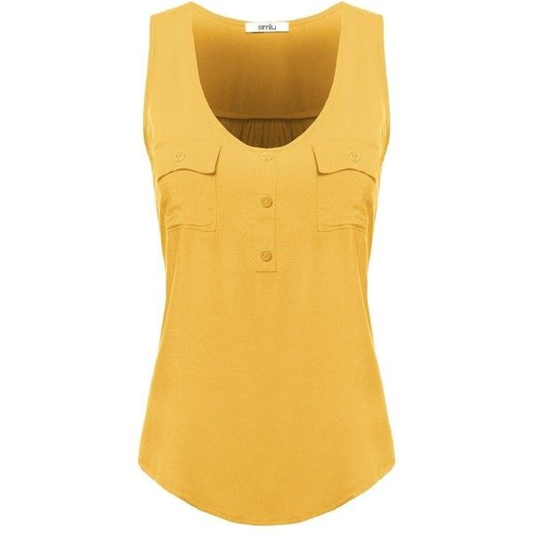 Womens Sleeveless Rayon Blouse Loose Fit Tank Top ($8.99) ❤ liked on Polyvore featuring tops, yellow top, loose fitting tanks, yellow tank top, cami top and loose camisole