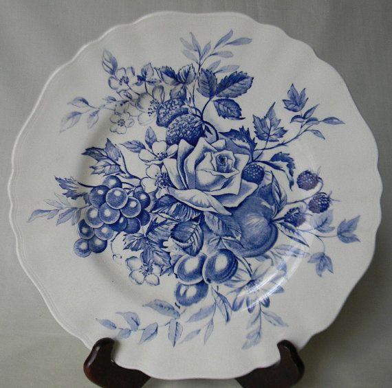 Beautiful Blue  English Transferware Plate Bouquet of  Roses Cherries Grapes Flowers Raspberries