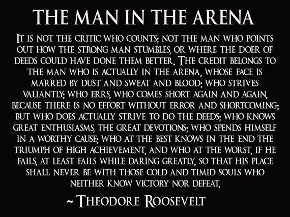 Theodore Roosevelt Poster Teddy Roosevelt Man In The Arena Speech Quote Poster