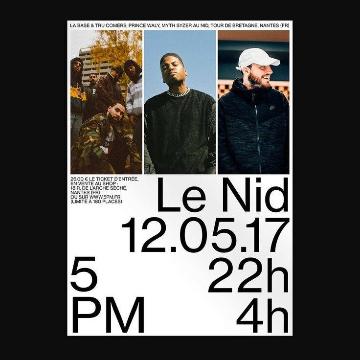 We are very pleased to our 11th event: Myth Syzer La Base & Tru Comers at Le Nid 12 Mai 22h-4h (Only 180 places) You can purchase your ticket at www.5pm.fr