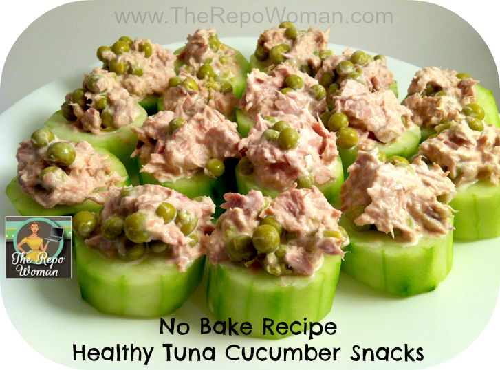 No Bake Healthy Tuna Cucumber Snacks