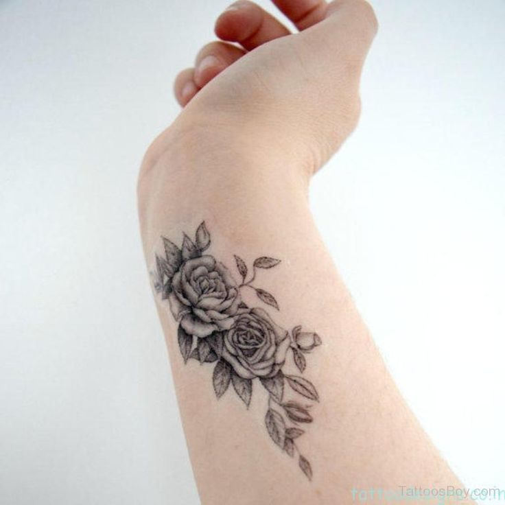 Grey Flower Tattoo Design On Wrist