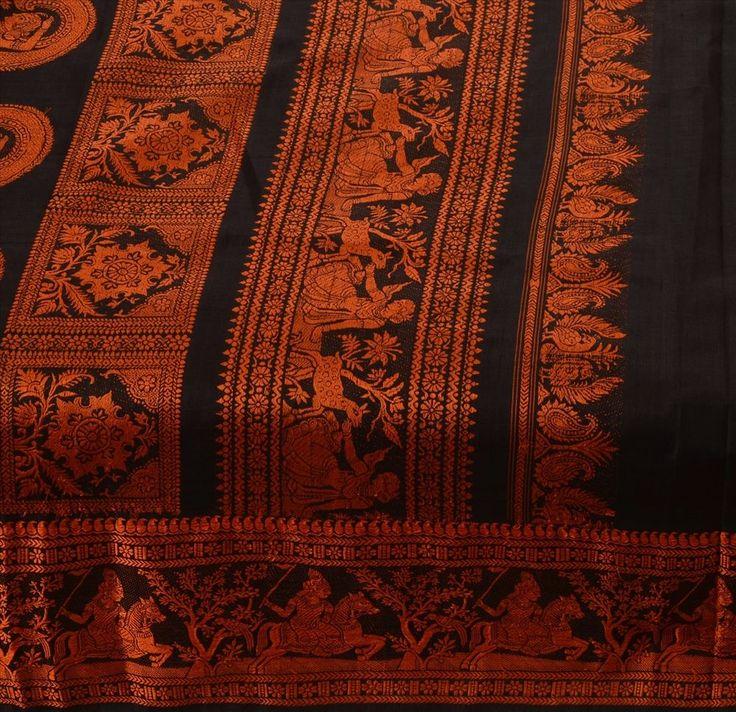 Antique Vintage Indian 100% Pure Silk Black Saree Woven Fabric Baluchari Sari