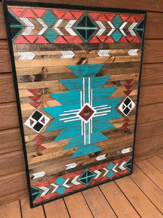 Ready To Ship Rustic Tribal Aztec Southwestern Wood Wall Art Etsy Wallart Wall Art Boho Wall Art In 2020 Mountain Wood Wall Art Wood Wall Art Barn Quilts