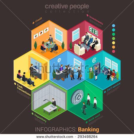#isometric #flat #vector #bank #Interior: #depository, #vault, #rooms, #credit