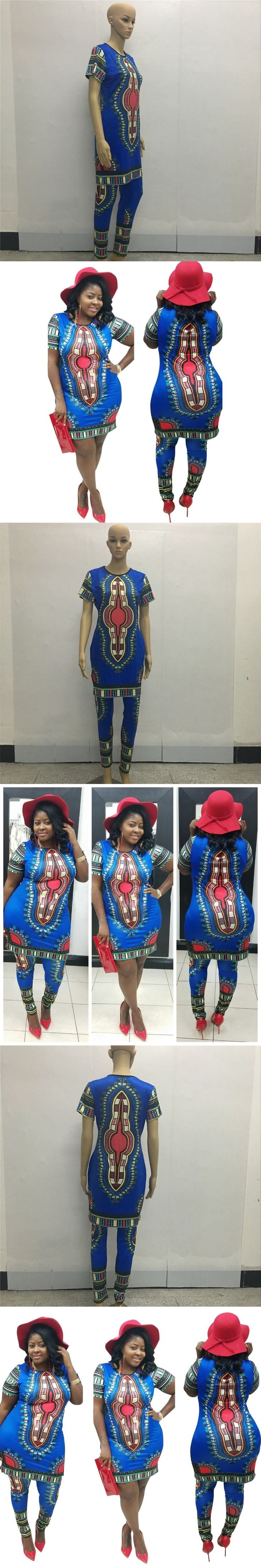 New Summer Fasion Traditional African Clothing 2 Piece Set Women Africaine Print Dashiki Blue Short Shirts and Matching Pants