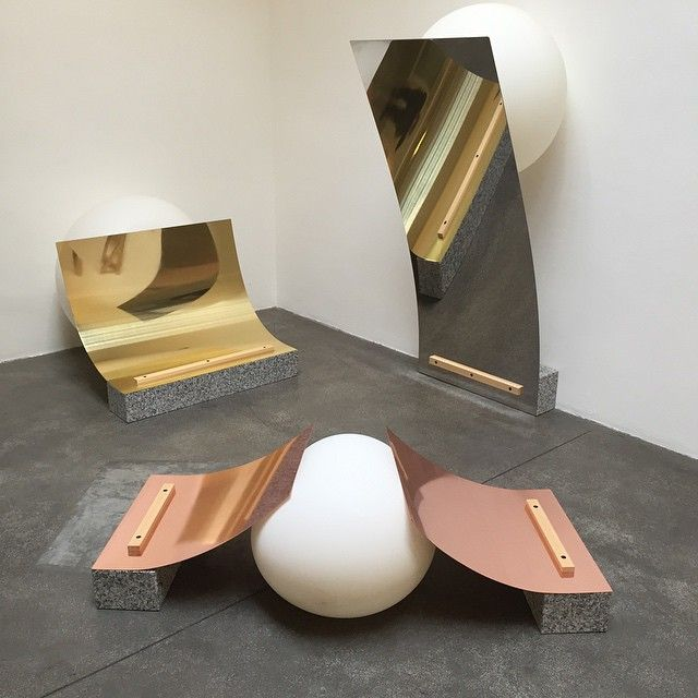 marble, brass, and copper table top accessories by fabrica fuha at milan design week via mm cco