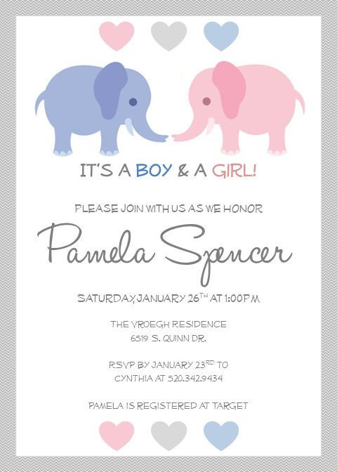 Printable Twin Baby Shower Invitations, Twin Elephants on Etsy, $10.00