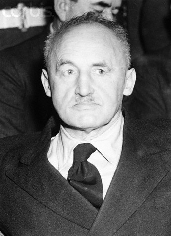 Julius Streicher, fiendish mass-murderer of the Nazi Regime and director of extermination of Jews, now waiting to be hanged for his war crimes, is shown during his trial by the International Military Tribunal in Nuremberg.