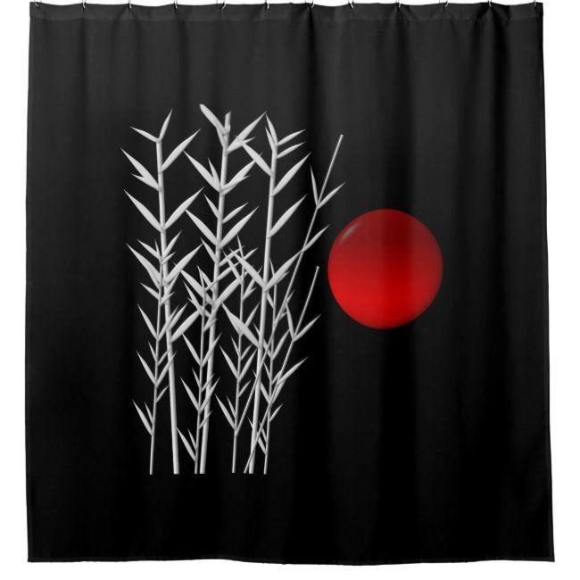 Red Sun Black White Zen Shower Curtain Zazzle Com In 2020 Red