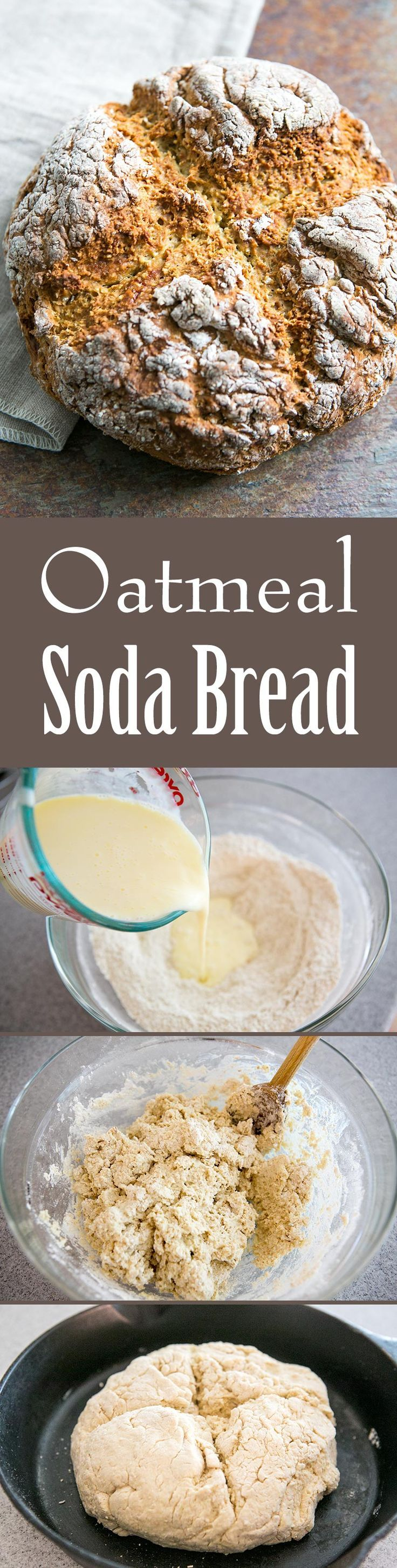 Oatmeal soda bread! An easy quick bread made with finely ground rolled oats, flour, buttermilk, egg, and baking soda. Perfect for St Patrick's Day! On http://SimplyRecipes.com