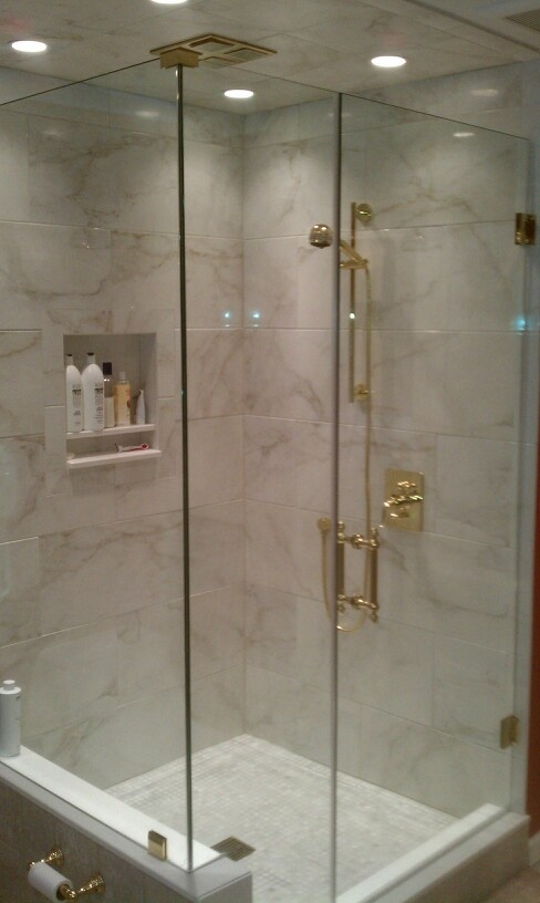 Polished Brass Bathroom Faucet: 90 Degree Enclosure With Polished Brass Hardware...and