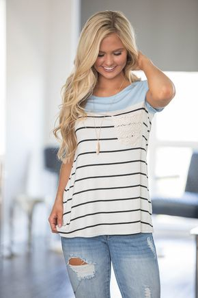 A Place In The Sun Striped Blouse Blue
