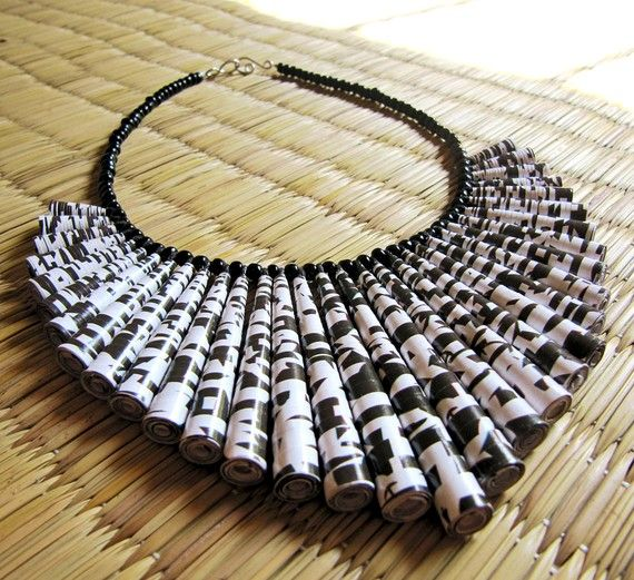 DEVI CHAND -INDIA  Unique jewelry  Paper bead Necklace  Black and by HippieKingdom, $68.00