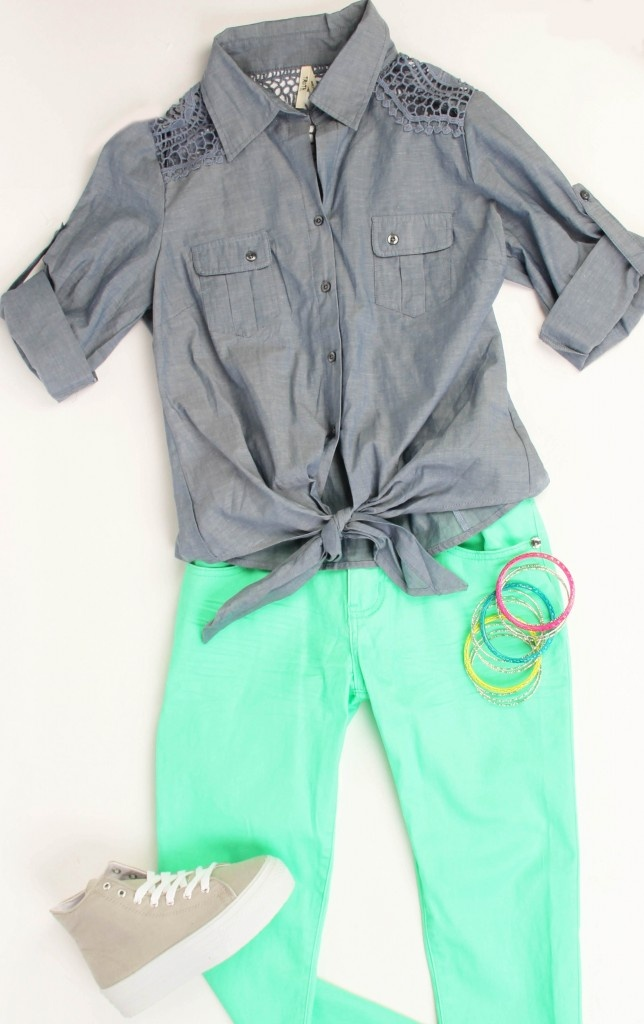 cute n' casual---Deb Shops #neon #outfit