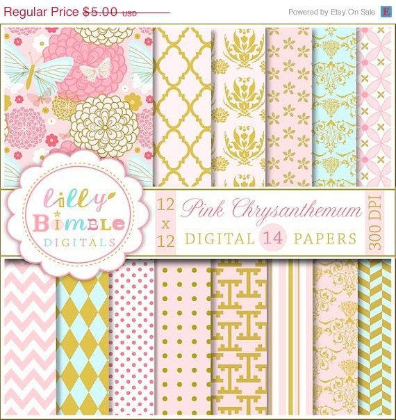 50% off Elegant Digital Scrapbook Paper with Pink Chrysanthemum,  mums, flowers, pink and gold printable DIgital Download