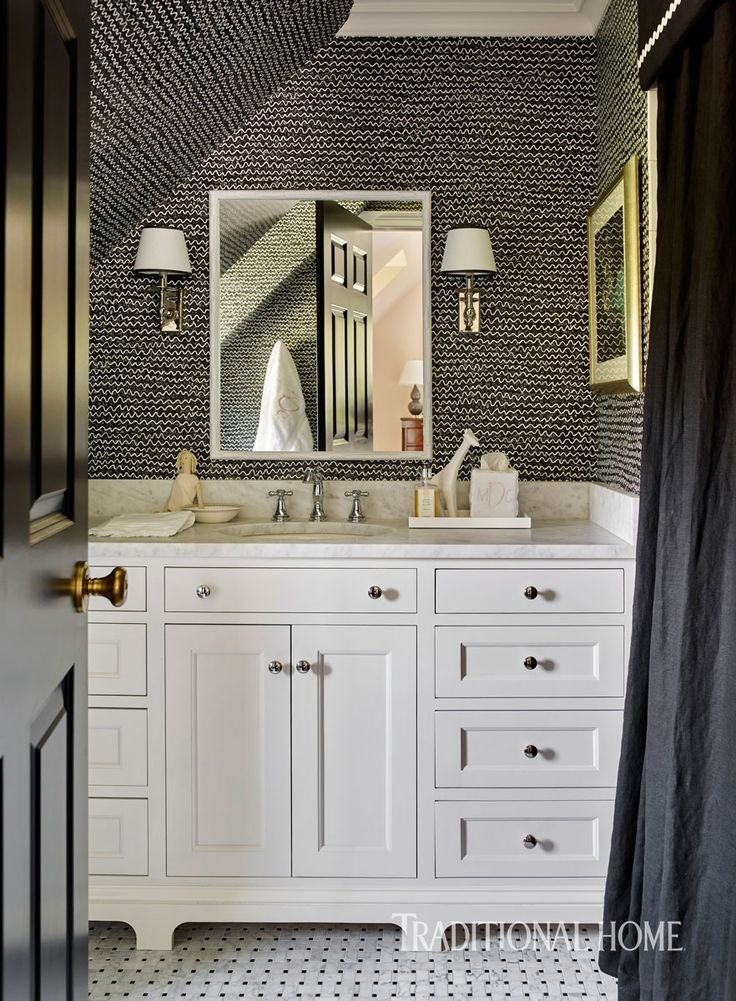 "Black & White bathroom with ""crayon/blackboard"" wallpaper, Cabinetry finish: Benjamin Moore White Dove OC-17, basketweave mosaic tile flooring."