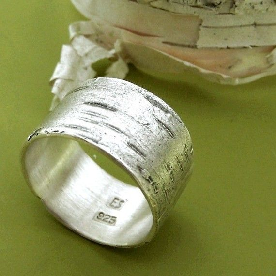 Birch Bark Ring Sterling Silver by esdesigns on Etsy, $65.00