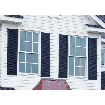 Builders Edge 15 in. x 72 in. Louvered Vinyl Exterior Shutters Pair in #002 Black - 010140072002 - The Home Depot
