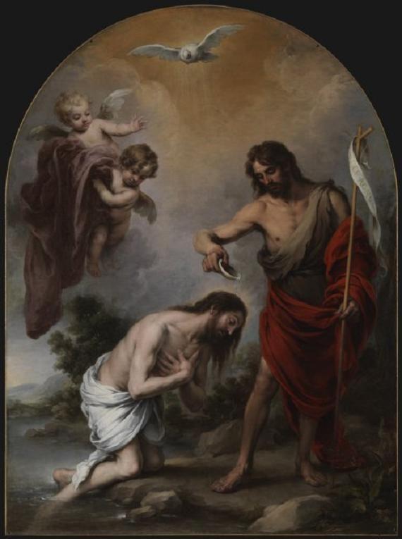 El Bautismo de Cristo. Obra de Bartolomé Esteban Murillo. 1668. Óleo sobre tela, 283 x 210 cm. Catedral de Sevilla
