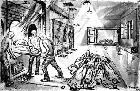 The Oven Room by David Olère. 1945, 58x38 cm, Ghetto Fighters House, Israel. A freight elevator in the background brought bodies up from the basement gassing chamber of Crematorium III at Birkenau. The wet trough at the right facilitated the dragging of bodies to the ovens. David Olere was a Sonderkommando in Birkenau, one forced to clear out the gas chambers and cremate the dead.