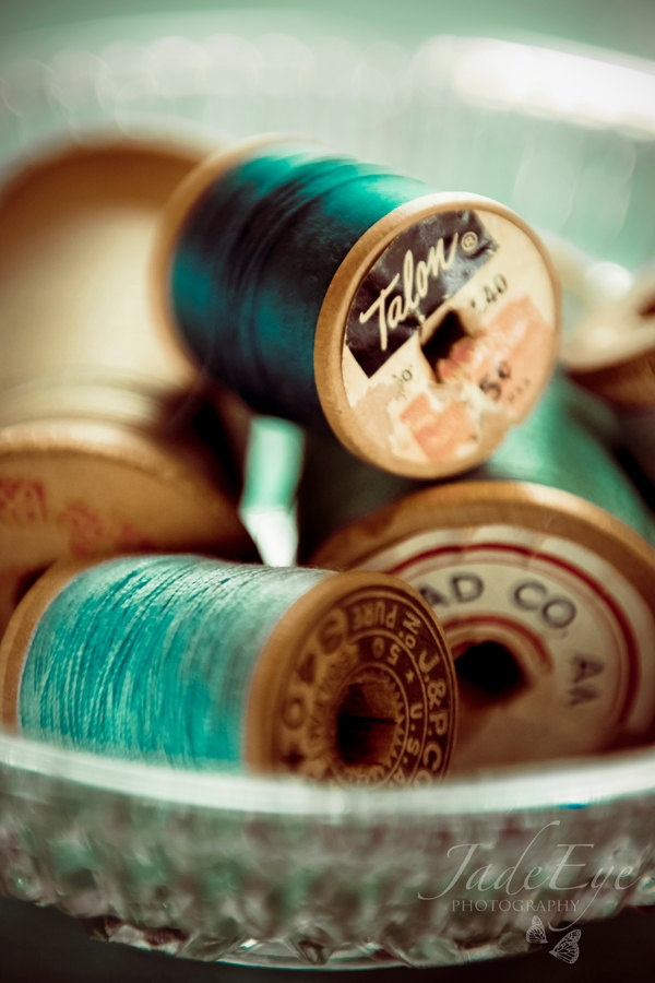 Sewing Thread - still life photo, vintage wooden spools in blue and cream, art, craft, hobby - 8x12. $25.00, via Etsy.