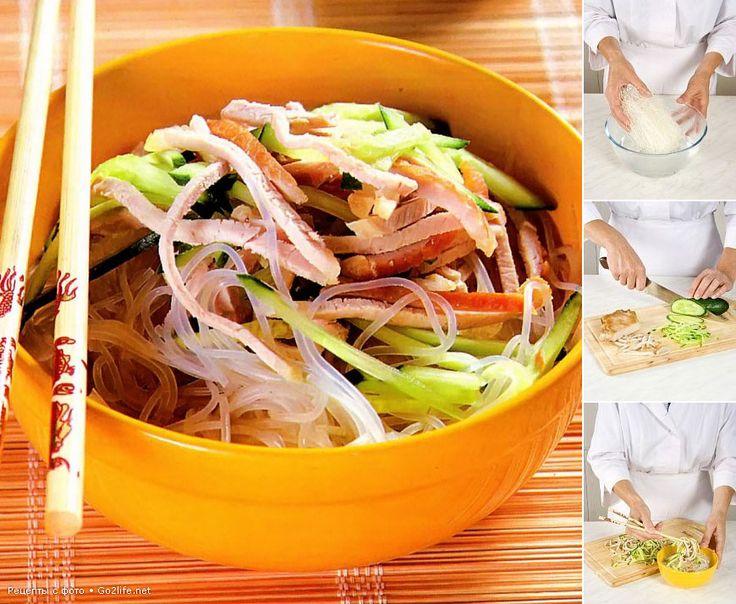 Рецепты с фото: рецепт салата Нихао, салат с курицей и вермишелью, салат из лапши с мясом