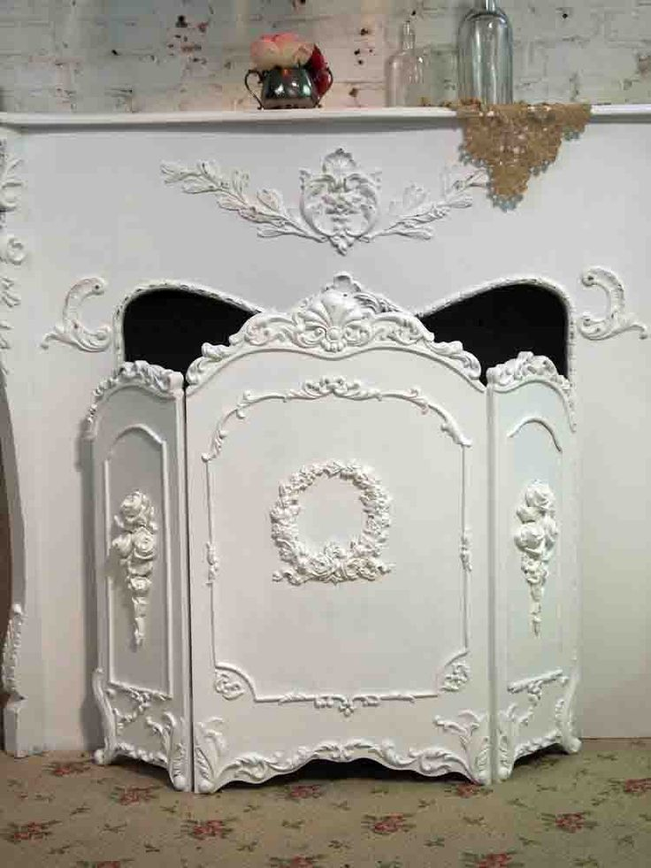 Painted Cottage Chic Shabby White French Fireplace Screen VF269