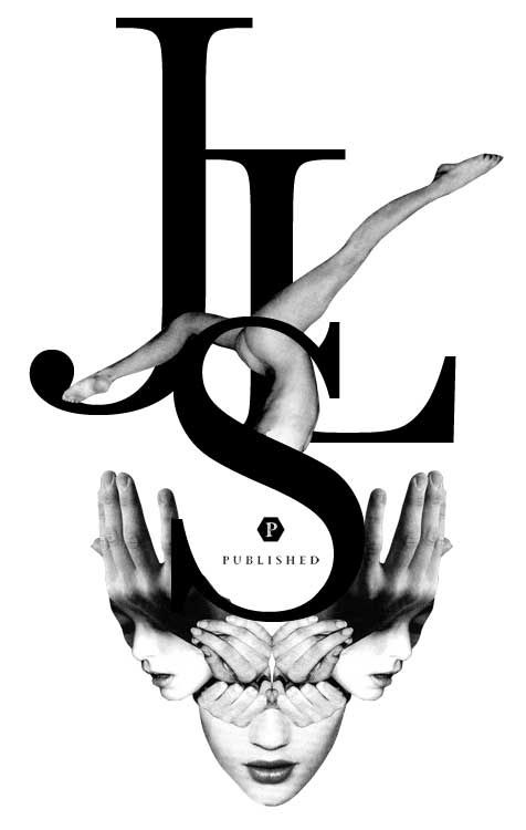This design uses the letters JSL to create frames for the text. The limbs and face comes out of the text.