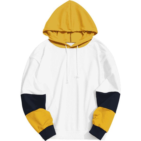 Mens Color Block Hoodie (166530 PYG) ❤ liked on Polyvore featuring men's fashion, men's clothing, men's hoodies, mens hoodie, mens hoodies, mens hooded sweatshirts, mens yellow hoodie and mens sweatshirts and hoodies