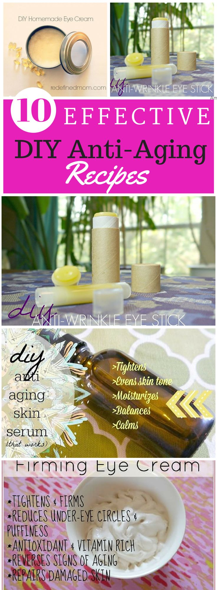 10 Effective DIY Anti Aging Skin Care Recipes: Save yourself some serious money and make your own DIY anti aging creams, DIY anti aging serums, and DIY anti aging eye creams!
