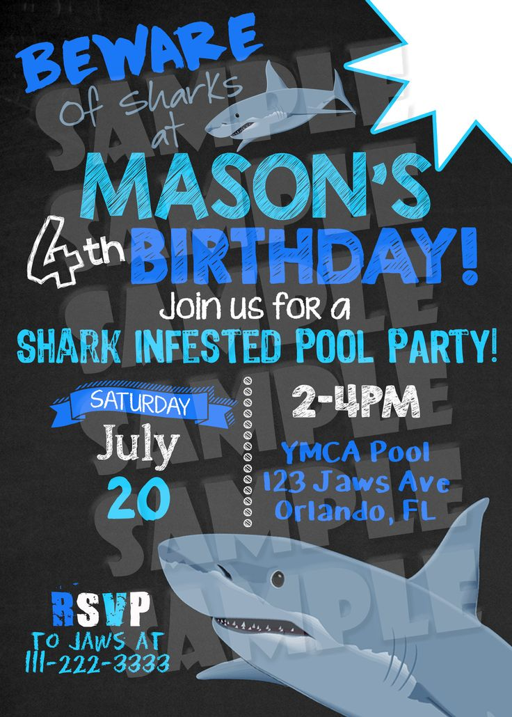 Printable Shark Pool Party Invitation (Digital File Only) - Forever Fab Boutique - 2