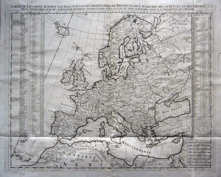 EUROPA - CHATELAIN. Carte de l'Europe suivant les plus nouvelles observations... 1719. Rame, mm.450x585. Splendida grande carta con didascalie a lato. Pieghe d'origine ma ottimo es. Rara e decorativa.
