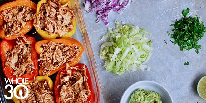 Whole30 Tacos, Part 2: Shredded Chicken Tacos in a Red Pepper Boat