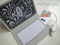 Scapbooking card Karte Geburtstag birthday Laptop computer yojeux aniversaire Gutschein Geschenk present give away